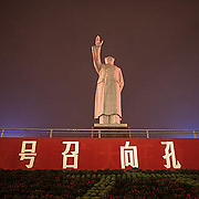 China, Cities, Statue of Chairman Mau in city of Chengdu at night.