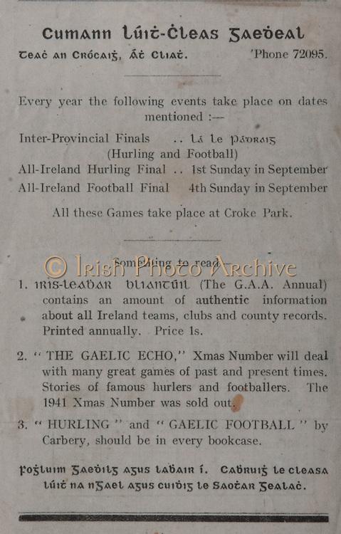 All Ireland Senior Football Final, Dublin v Galway, 20.09.1942, 09.20.1942, 20th September 1942, Dublin 1-10 Galway 1-08, 20091942AISFCF, .