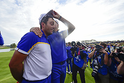September 30, 2018 - Guyancourt, France, France - joie de Francesco Molinari of Italy (Team Europ) / Ian Poulter of England  (Credit Image: © Panoramic via ZUMA Press)
