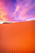 Evening light over dunes, Coral Pink Sand Dunes State Park, Kane County, Utah USA