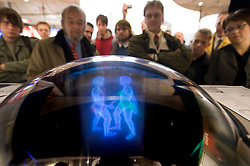 "HANNOVER, GERMANY - MARCH-6-2008 -  The ""bollograph"" is a truly three-dimensional monitor that takes data from a 3-D application and can skip the usually step of rendering the data and display it in true three dimensions - viewable from all sides. The demo attracted a crowd of fascinated onlookers. The company is Soscho gmbh, located in Bavaria (www.soscho.de) and it's principle founders are inventor Dr. Peter Boll and his partner Christian Lepper. Possible applications include real-time TV broadcast in true 3D, 3D cinema, medical applications, flight control and the list goes on..(Photo © Jock Fistick)"