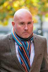 © Licensed to London News Pictures. 04/11/2016. Leeds UK. Picture shows former soldier Simon Buckden arriving at Leeds Crown Court today. The former military clerk is accused of six counts of fraud, it is alleged he lied about serving in war torn countries & having cancer to get sympathy & benefits. Buckden is accused of telling people he carried out tours of duty in Bosnia, Northern Ireland, Rwanda, both Gulf Wars. He is also accused of telling people he served in the SAS and attended events wearing medals & a beret. Buckden took part in the Olympic torch relay in the run up to the 2012 London Olympics & began a fundraising challenge to run 100 marathons in 100 weeks. Photo credit: Andrew McCaren/LNP