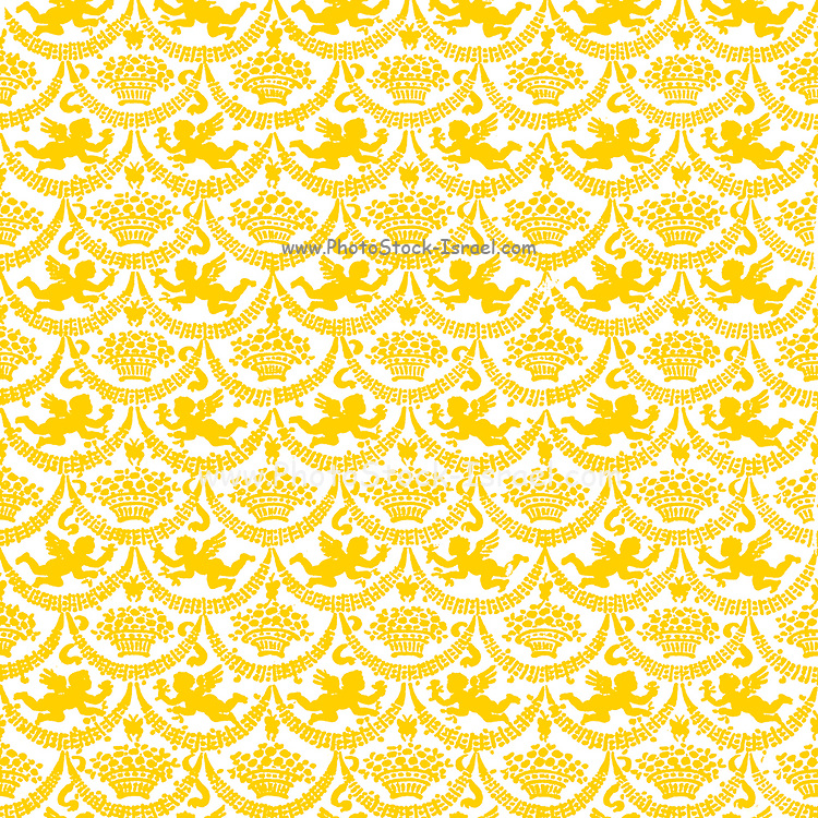 Repeating pattern of Gold winged angelic cherubs