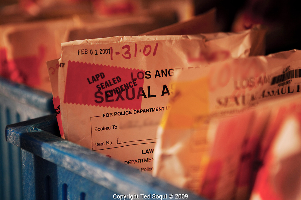 Frozen rape kits and evidence from violent crimes. These kits are stored at near zero (f) temps  inside the Piper Tech facility in downtown L.A. Many of the rape kits are untested and are backlogged over several years.