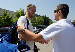 Miha Zupan and Miro Alilovic of Slovenia Basketball national team at departure to Rogla before World Championship in Turkey, on July 10, 2010 at KZS, Ljubljana, Slovenia. (Photo by Vid Ponikvar / Sportida)