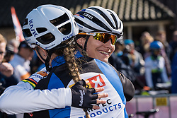 A welcome back hug for Marianne Vos from Lauren Kitchen  - Drentse 8, a 140km road race starting and finishing in Dwingeloo, on March 13, 2016 in Drenthe, Netherlands.