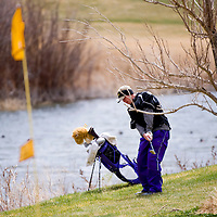 041813       Brian Leddy<br /> Kirtland Central Bronco Tristin Goodwin chips onto the green during around a tree during Thursday's Grants Invitational Golf Tournament at Coyote del Malpais golf course.