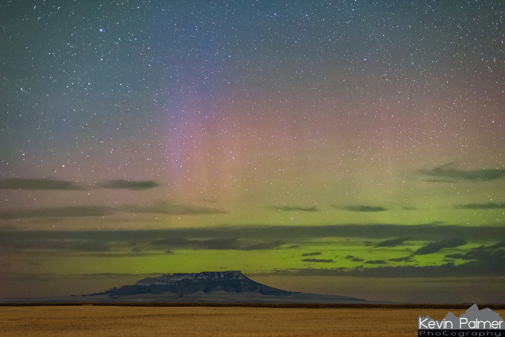 After shooting the milky way over Square Butte, I drove back south to shoot the aurora. It wasn't as active as the night before, but there was a short flare-up at 10:40PM.