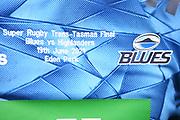 Shirt details.<br /> Blues v Highlanders, Sky Super Rugby Trans-Tasman Final. Eden Park, Auckland. New Zealand. Saturday 19 June 2021. © Copyright Photo: Andrew Cornaga / www.photosport.nz