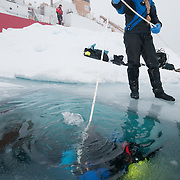 Katrin Iken plays out the rescue line to a diver beneath the ice of the Arctic Ocean.