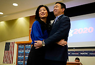 Democratic 2020 U.S. presidential candidate and entrepreneur Andrew Yang hugs his wife Evelyn after speaking at a town hall meeting in Sioux City, Iowa, January 27, 2020.     REUTERS/Rick Wilking