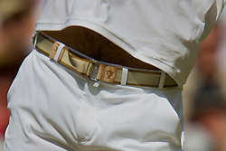 LONDON, ENGLAND - Monday, June 30, 2008: Roger Federer (SUI) belt showing his five Wimbledon Championships during his Men's Singles Fourth Round victory on day seven of the Wimbledon Lawn Tennis Championships at the All England Lawn Tennis and Croquet Club. (Photo by David Rawcliffe/Propaganda)