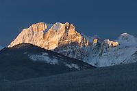 Winter sunrise sets the Canadian Rockies aglow, Banff National Park Alberta Canada