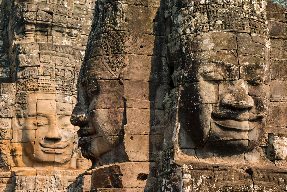 """The smiling face of Avalokitesvara at the Bayon Temple Also called """"Face Towers"""". The Bayon is a richly decorated Khmer Buddhist temple at Angkor Thom."""