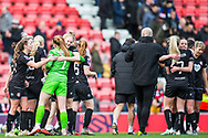 Bristol City Goalkeeper Sophie Baggaley (1) & Full-Back Poppy Pattinson (7) being congratulated after their 0-1 win during the FA Women's Super League match between Manchester United Women and Bristol City Women at Leigh Sports Village, Leigh, United Kingdom on 5 January 2020.