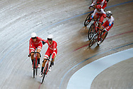 Women Madison, Amalie Dideriksen (Denmark) - Julie Leth (Denmark) during the Track Cycling European Championships Glasgow 2018, at Sir Chris Hoy Velodrome, in Glasgow, Great Britain, Day 6, on August 7, 2018 - Photo luca Bettini / BettiniPhoto / ProSportsImages / DPPI<br /> - Restriction / Netherlands out, Belgium out, Spain out, Italy out -