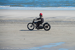 Atsushi (Sushi) Yasui of Freewheelers and Company in Japan riding his hot-rod Harley-Davidson UL (in a 36 VL frame) at the The Race of Gentlemen. Wildwood, NJ, USA. October 11, 2015.  Photography ©2015 Michael Lichter.
