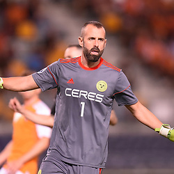BRISBANE, AUSTRALIA - JANUARY 23: Antonio Santana of Ceres Negros gives instructions during the AFC Champions League Second Preliminary Round match between Brisbane Roar and Ceres Negros FC on January 23, 2017 in Brisbane, Australia. (Photo by Patrick Kearney)