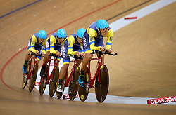 Ukraine Men Team Pursuit led by Klepikov Illya in qualifying during day one of the 2018 European Championships at the Sir Chris Hoy Velodrome, Glasgow. PRESS ASSOCIATION Photo. Picture date: Thursday August 2, 2018. See PA story SPORT European. Photo credit should read: John Walton/PA Wire. RESTRICTIONS: Editorial use only, no commercial use without prior permissionduring day one of the 2018 European Championships at the Sir Chris Hoy Velodrome, Glasgow. PRESS ASSOCIATION Photo. Picture date: Thursday August 2, 2018. See PA story SPORT European. Photo credit should read: John Walton/PA Wire. RESTRICTIONS: Editorial use only, no commercial use without prior permission