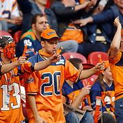 American Football, Amsterdam Admirals - Cologne Centurions, fans, publiek, oranje kleding, geschilderde gezichten