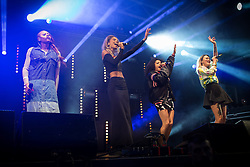"© Licensed to London News Pictures . 22/08/2014 .  Manchester , UK . NEON JUNGLE perform on the stage in the car park . Manchester Pride "" Big Weekend "" in Manchester's "" Gay Village "" today ( 22nd August 2014 ) . Photo credit : Joel Goodman/LNP"
