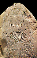 """Prehistoric  petroglyphs, rock carvings, of geometric designs carved by the the prehistoric Camuni people in the Copper Age around the 3rd milleneum BC, Stele """"Bagnolo 2"""" found in 1972 from Malegno near Bangnolo Ceresolo. Museo Nazionale della Preistoria della Valle Camonica ( National Museum of Prehistory in Valle Cominca ), Lombardy, Italy. Black Background .<br /> <br /> If you prefer you can also buy from our ALAMY PHOTO LIBRARY  Collection visit : https://www.alamy.com/portfolio/paul-williams-funkystock/valcamonica-menhir-museum.html<br /> Visit our PREHISTORIC PLACES PHOTO COLLECTIONS for more  photos to download or buy as prints https://funkystock.photoshelter.com/gallery-collection/Prehistoric-Neolithic-Sites-Art-Artefacts-Pictures-Photos/C0000tfxw63zrUT4"""