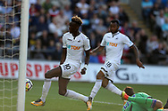 Tammy Abraham of Swansea city scores his teams 3rd goal. Swansea city v Sampdoria , pre-season friendly at the Liberty Stadium in Swansea, South Wales on Saturday August 5th 2017.<br /> pic by Andrew Orchard, Andrew Orchard sports photography.