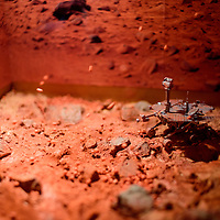 072215       Cable Hoover<br /> <br /> A mock whirlwind swirls granules inside a diorama of Mars at the Exploring Space exhibit at the Octavia Fellin Public Library in Gallup Wednesday.