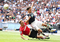 Millwall's Lee Gregory is fouled by Barnsley's Marc Roberts<br /> <br /> Photographer Rich Linley/CameraSport<br /> <br /> Football - The Football League Sky Bet League One Play-Off Final - Barnsley v Millwall - Sunday 29th May 2016 - Wembley Stadium  <br /> <br /> World Copyright © 2016 CameraSport. All rights reserved. 43 Linden Ave. Countesthorpe. Leicester. England. LE8 5PG - Tel: +44 (0) 116 277 4147 - admin@camerasport.com - www.camerasport.com