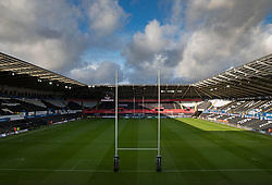 A general view of Liberty Stadium, home of Ospreys<br /> <br /> Photographer Simon King/Replay Images<br /> <br /> Guinness PRO14 Round 6 - Ospreys v Southern Kings - Saturday 9th November 2019 - Liberty Stadium - Swansea<br /> <br /> World Copyright © Replay Images . All rights reserved. info@replayimages.co.uk - http://replayimages.co.uk