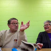 Tom Bischoff, left, and Esther Holiday talk abut the transition from the South Side Senior Center to join the North Side Senior Center Wednesday in Gallup.