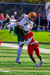 NORMAL, IL - October 16:  Franky West hits reciever Christian Watson  but the ball was over thrown during a college football game between the NDSU (North Dakota State) Bison and the ISU (Illinois State University) Redbirds on October 16 2021 at Hancock Stadium in Normal, IL. (Photo by Alan Look)