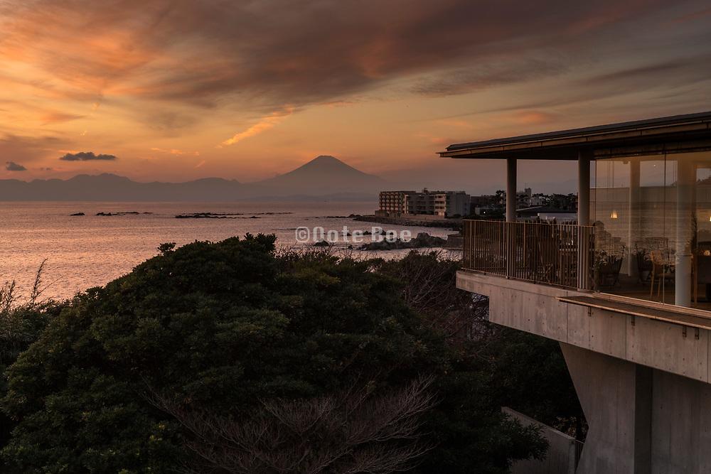 sunset with mounth Fuji seen from Kamkura Hayama Japan