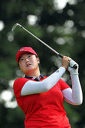 June 17, 2018 - Belmont, Michigan, United States - Angel Yin of California hits from the 2nd tee during the final round of the Meijer LPGA Classic golf tournament at Blythefield Country Club in Belmont, MI, USA  Sunday, June 17, 2018. (Credit Image: © Amy Lemus/NurPhoto via ZUMA Press)