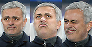 a composite image of the face of Jose Mourinho, the Chelsea manager as he sits in the dugout ahead of the game. UEFA Champions league group G match, Chelsea v Porto at Stamford Bridge in London on Wednesday 9th December 2015.<br /> pic by John Patrick Fletcher, Andrew Orchard sports photography.