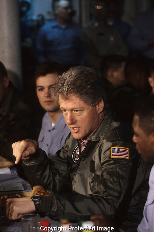 President Clinton visits the US carrier Roosevelt in March 1993..Photograph by Dennis Brack bb24
