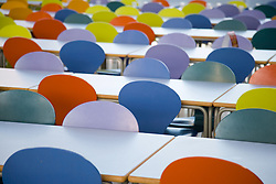 Colourful dining hall chairs in the Jubilee University Campus; city of Nottingham,