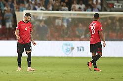 October 14, 2018 - Be'Er Sheva, Israel - Myrto Uzuni and Elseid Hysaj (L) of Albania during UEFA Nations League C group 1 match between Israel and Albania at Turner Stadium in Be'er Sheva, Israel, on 14 October 2018. Israel won 2-0. (Credit Image: © Ahmad Mora/NurPhoto via ZUMA Press)