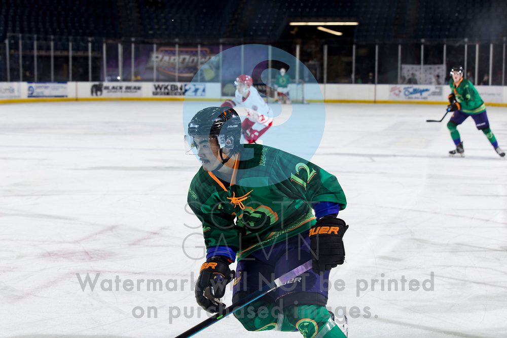 Youngstown Phantoms lose 5-4 to the Dubuque Fighting Saints at the Covelli Centre on March 13, 2021.<br /> <br /> Yusaku Ando, forward, 12