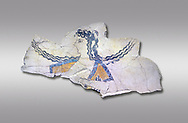The Minoan 'Dancer' fresco deicting a doddess descending from the heavens, Knossos Palace, 1600-1450 BC . Heraklion Archaeological Museum.,grey background<br /> <br /> The Dancer fresco depits a goddess descending from the heavens as indicated by her locks of hair streaming in the wind. This is a familiar convention in Minoan iconogragraphy of a goddess hovering in the air, her right arm extended in a gesture of authority. This fragment is psrt of a larger epiphony scene .<br /> <br /> If you prefer to buy from our ALAMY PHOTO LIBRARY  Collection visit : https://www.alamy.com/portfolio/paul-williams-funkystock/minoan-art-artefacts.html . Type -   Heraklion   - into the LOWER SEARCH WITHIN GALLERY box. Refine search by adding background colour, place, museum etc<br /> <br /> Visit our MINOAN ART PHOTO COLLECTIONS for more photos to download  as wall art prints https://funkystock.photoshelter.com/gallery-collection/Ancient-Minoans-Art-Artefacts-Antiquities-Historic-Places-Pictures-Images-of/C0000ricT2SU_M9w