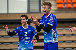 Luke Herr #2 of Lycurgus, Bennie Tuinstra #21 of Lycurgus in action during the supercup final between Amysoft Lycurgus - Active Living Orion on October 04, 2020 in Van der Knaaphal, Ede