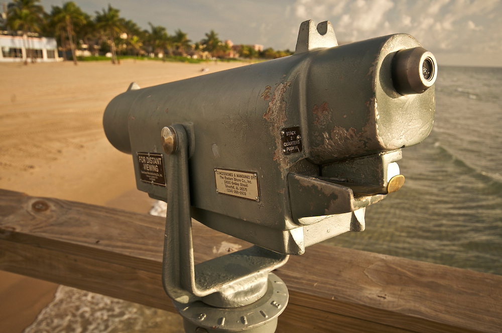 Telescope in Lauderdale by the Sea Fishing Pier, Fort Lauderdale, Florida.