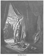Jael [Yael] Kills Sisera Judges 4:21 From the book 'Bible Gallery' Illustrated by Gustave Dore with Memoir of Dore and Descriptive Letter-press by Talbot W. Chambers D.D. Published by Cassell & Company Limited in London and simultaneously by Mame in Tours, France in 1866