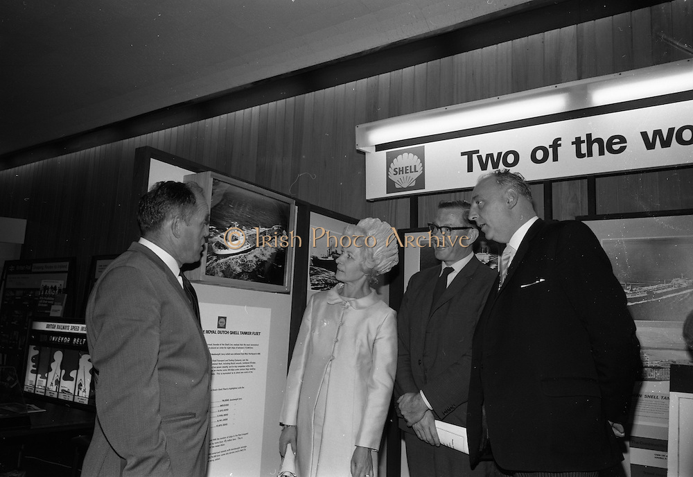 25/07/1967<br /> 07/25/1967<br /> 25 July 1967<br /> Shell stand at Dublin Port and Docks Centenary Exhibition at Liberty Hall, Dublin. Pictured at the opening of the exhibition were (l-r): Mr. Desmond Branigan, Chairman of the exhibition organising committee; the Lady Mayoress; Mr. Bernard Nolan, Managing Director, Irish Shell and BP Ltd. and member of the Dublin Port and Docks Board and Councillor Thomas Stafford, Lord Mayor of Dublin who officially opened the exhibition.