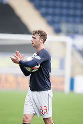 Falkirk's Rory Loy takes the match ball after scoring a hat trick.<br /> Falkirk 5 v 0 Cowdenbeath, Scottish Championship game played today at The Falkirk Stadium.<br /> © Michael Schofield.