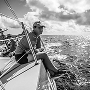 Leg 8 from Itajai to Newport, day 04 on board MAPFRE, Tamara Echegoyen looking at the horizon. 25 April, 2018.