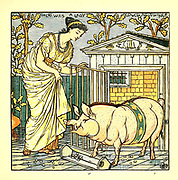 There was a lady loved a swine From the Book '  The baby's opera : a book of old rhymes, with new dresses by Walter Crane, and Edmund Evans Publishes in London and New York by F. Warne and co. in 1900