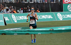 10062018 (Durban) The leading lady Ann Ashworth pass the finnish line at the Mosses Mabhida stadium venue during the Comrades Marathon on Sunday as Bong'musa Mthembu and Ann Ashworth ensured that the coveted titles remained on these shores.<br /> Picture: Motshwari Mofokeng/African News Agency/ANA