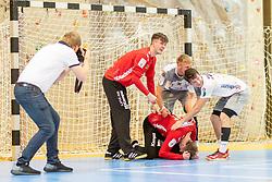 11.05.2019, Sporthalle Leoben Donawitz, Leoben, AUT, spusu HLA, Union JURI Leoben vs HC Linz AG, Abstiegsrunde, Finale, im Bild v.l.: David Zwicklhuber (HC Linz AG), Markus Bokesch (HC Linz AG), Dominik Ascherbauer (HC Linz AG), Moritz Bachmann (HC Linz AG) // during the spusu Handball League Austria final relegation game match between Union JURI Leoben and HC Linz AG at the Sporthalle Leoben Donawitz in Leoben, Austria on 2019/05/11. EXPA Pictures © 2019, PhotoCredit: EXPA/ Dominik Angerer