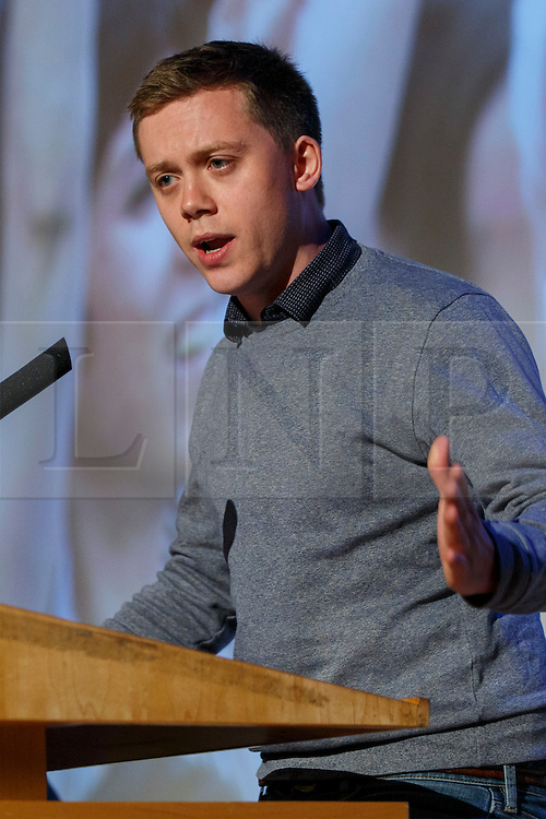 "© Licensed to London News Pictures. 28/05/2016. London, UK. OWEN JONES speaking at ""Another Europe is Possible"" rally at UCL Institute of Education in London, campaigning for a remain vote at the upcoming EU referendum.  Speakers at the event include Shadow Chancellor John McDonnell, former Greek Finance Minister Yanis Varoufakis and Green Party MP Caroline Lucas. Photo credit: Tolga Akmen/LNP"